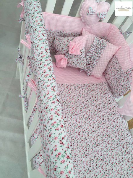 Ditsy Floral and Gingham Cot Bedding Set - various colours available