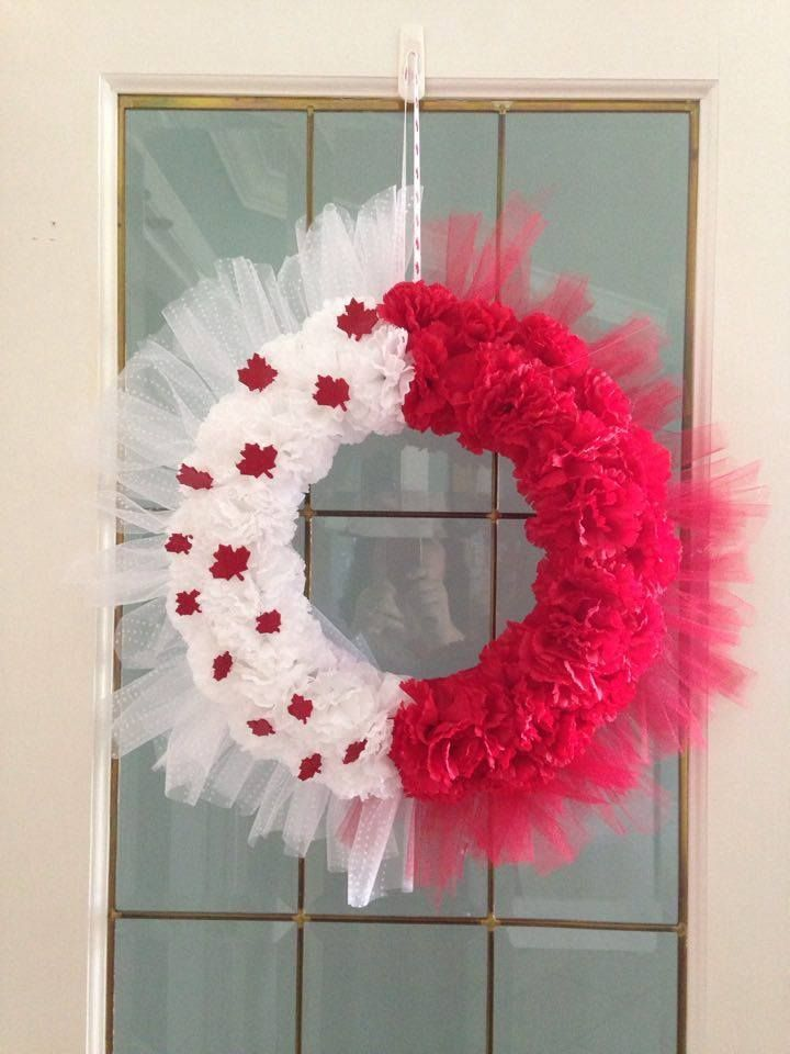 """How to Make the Easiest Canada Day Wreath Ever! ~~12"""" Foam Wreath ~1 bolt of Each Red & White 6"""" wide Tulle ~4 bunches Each of Red & White Carnations ~Red Foam Sheet (for Maple Leaves) ~Hot Glue ~Ribbon to hang wreath~~"""