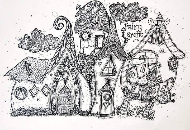 Zentangle village doodle houses home building