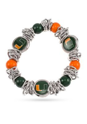 Accessory Plays Women Silver-Tone University Of Miami Hurricanes Logo Bead Stretch Bracelet - Green/Orange - One Size
