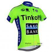 maillot Cyclisme Saxo Tinkoff 2015 Manche Courte vert