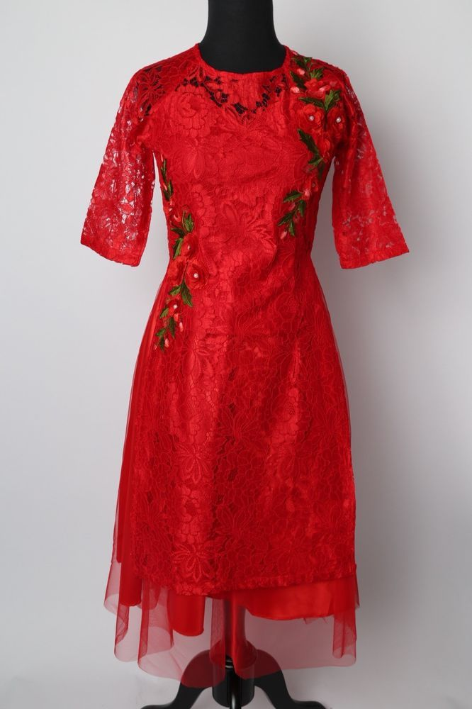 bec599c638 Vietnamese Ao Dai Cach Tan with Skirt Red Lace Floral (Size S - XL  Available)  fashion  clothing  shoes  accessories  womensclothing  dresses (ebay  link)