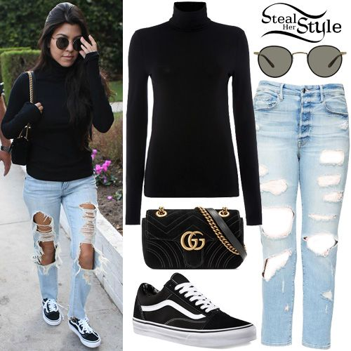 Kourtney Kardashian was spotted out and about in Los Angeles wearing a Wolford Viscose Pullover ($275.00), Good American Good Cuts Jeans ($215.00), a Gucci GG Marmot Velvet Mini Bag ($1,290.00), Garrett Leight Wilson Sunglasses ($340.00) and Vans Old Skool Classic Sneakers ($60.00).
