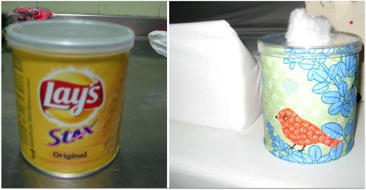 reciclado lata: algodonera bebé