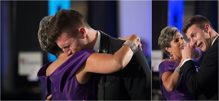 Ashley Gerrity Photography | Cescaphe Downtown Club Wedding | emotional mother son dance at wedding, groom cries while dancing with his mother, emotional wedding moments