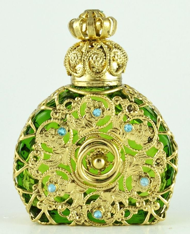 Perfume Bottle Vintage Vanity Gold Tone Filigree Vanity Green W Blue Crystals