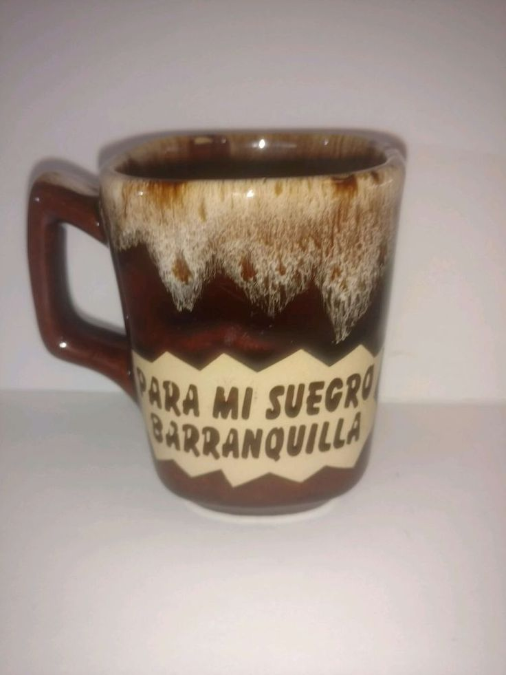 Coffee mug for my father-in-law in Spanish souvenir from Barranquilla