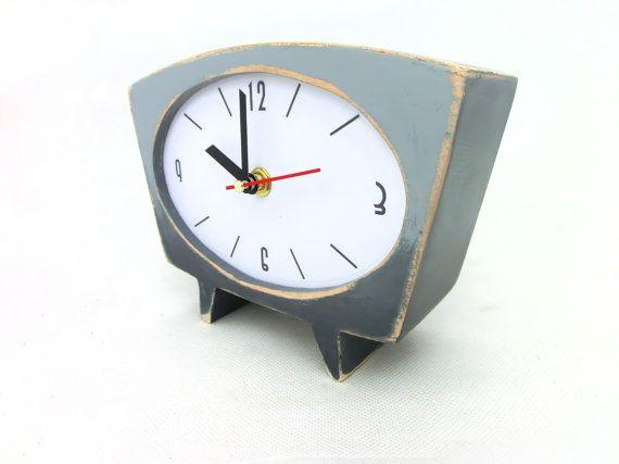 FREE SHIPPING  Desk Clock Grey Ombre clock by ClockWoodStudio