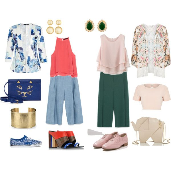 Cropped pants by annaturcato on Polyvore featuring moda, River Island, Chicwish, Zara, Mat, Quiz, Tory Burch, Vans, Charlotte Olympia and Kate Spade