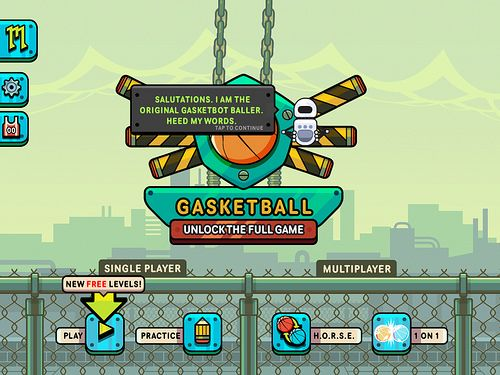 Gasketball Main Menu: screenshots, UI