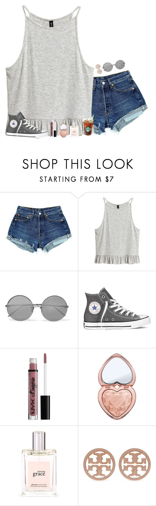 """the bravest thing I ever did was run"" by pineapple5415 ❤ liked on Polyvore featuring Linda Farrow, Converse, NYX, Too Faced Cosmetics, philosophy and Tory Burch"