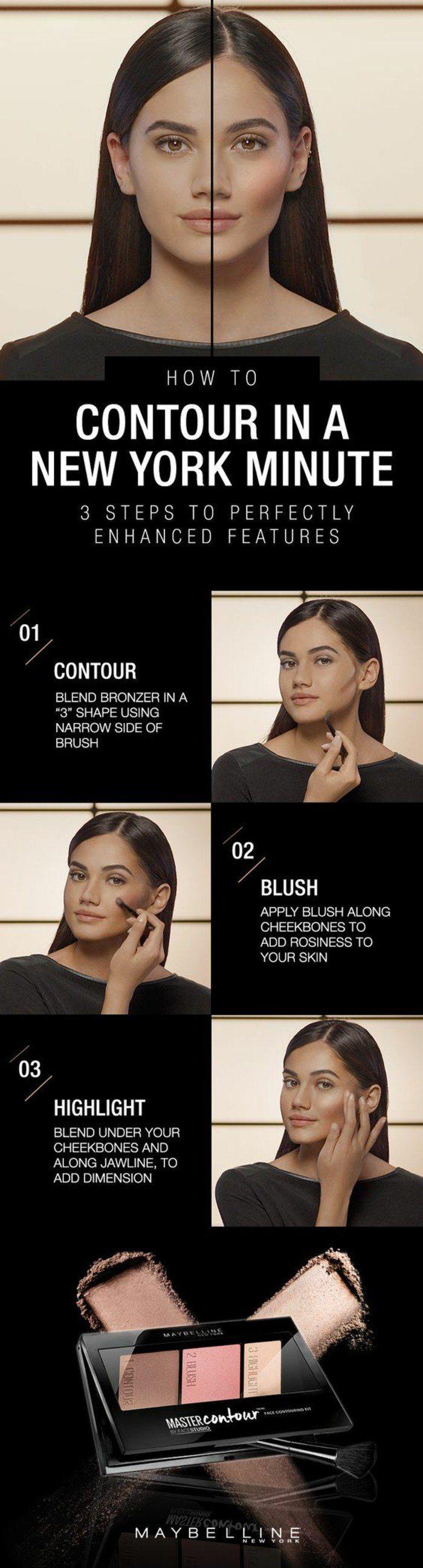 maybeline conseil tuto, maquillage naturel brunette proposé par maybeline