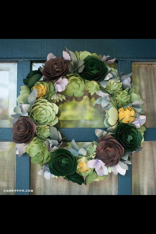 Cactus flower paper wreath 3d floral cartridge for Oregon craft floral