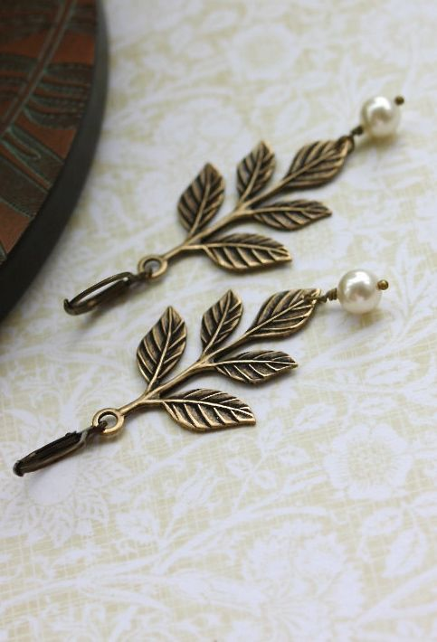 Leaf and Pearls Earrings, Leaves Ivory Pearls Dangle Earrings. Wedding Bridal Jewellery. Bridesmaids Gift, Rustic Wedding, Country Cottage by Marolsha - https://www.etsy.com/listing/99783440/leaf-and-pearls-earrings-leaves-ivory?ref=shop_home_active_1&ga_search_query=leaf%2Bearrings