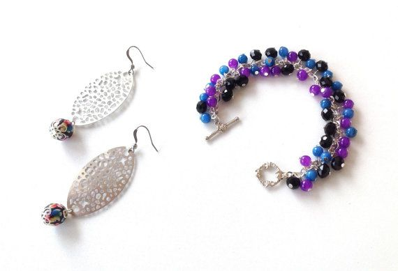Multicolor beaded bracelet and silver oval earring set