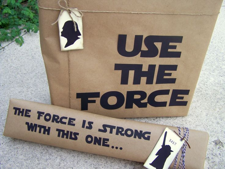 DIY silhouette gift-wrapping for the Star Wars fan from olderandwisor.blogspot.com