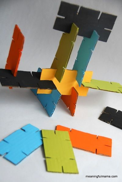 Meaningful Mama shares how easy it is easy to make this fun  and creative toy with recycled cardboard. Adults can do the cutting and kids can do the painting and then everyone can enjoy building toget