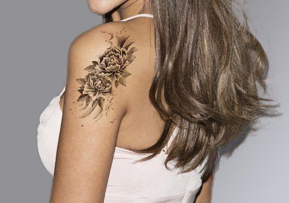 Flower Tattoo Temporary Tattoo Sleeve Arm Tattoo by MyBodiArt