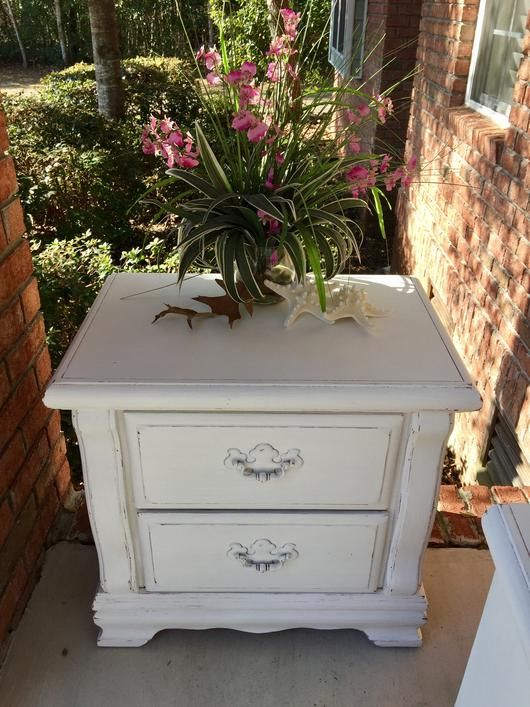 White, Wax, Vintage, Storage, Shabby Chic, Rectangular, Painted, Original Hardware, Oak, Nightstand, Night Stand, Lined, Hand Painted, girl's, French Country, dresser, Drawers, Distressed, Coastal, chest, bedroom, Beach Cottage furniture, Painted by Handpainted Furniture by Liz