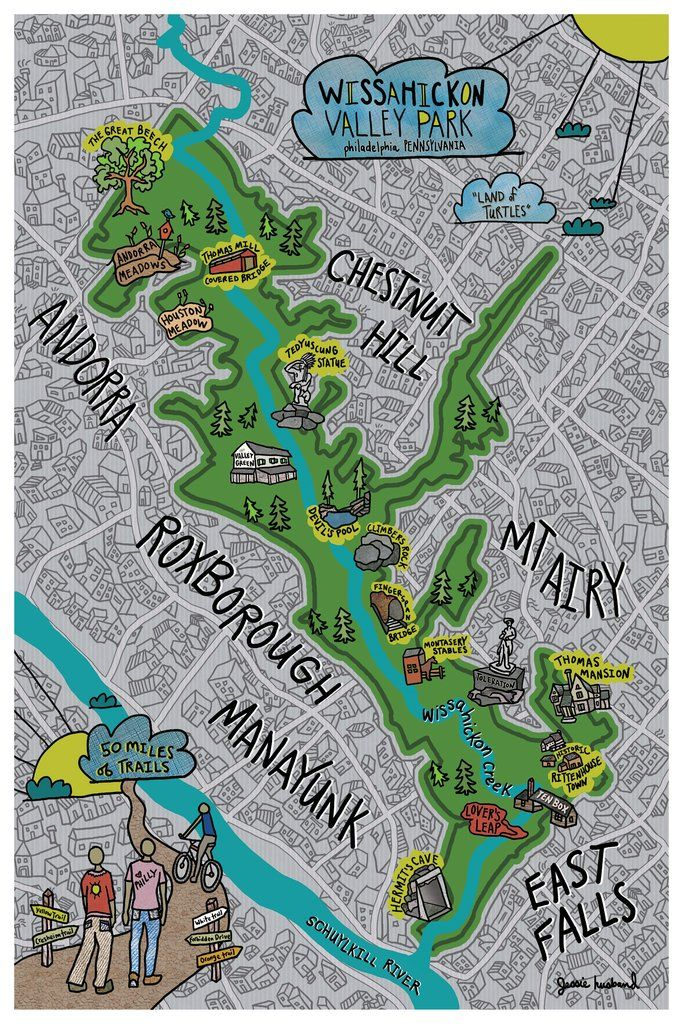 Map of Wissahickon Valley Park, Philadelphia | Jessie Husband ... Valley Park Map on