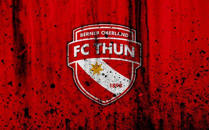 Download wallpapers FC Thun, 4K, logo, stone texture, grunge, Switzerland Super League, football, emblem, Thun, Switzerland