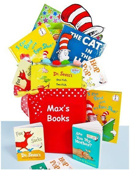 Baby Gift Baskets - Dr. Seuss Library Gift Basket http://www.gift-basket-plaza.com/baby-gift-baskets-dr-seuss-library-gift-basket  #300StickerPack #AreYouMyMother?Book #babygiftbaskets #CanvasTote #Dr.SeussLibraryGiftBasket #FoxInSocksBook #HopOnPopBook #ICanReadWithMyEyesShutBook #MagnetPaintingCraftKit #OneFishTwoFishBoardBook #TheCatInTheHatBook #TheCat'sHatGiftEnclosureCard visit literaryswag.com