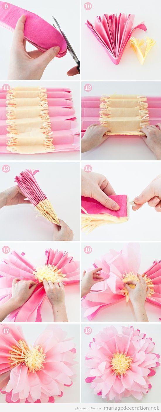Les fleurs sont un des élément les plus chers quand il s'agit de décorer un mariage. On vous propose un travaux manuel très simple: des fleurs en papier de soie C'est une façon simple e…