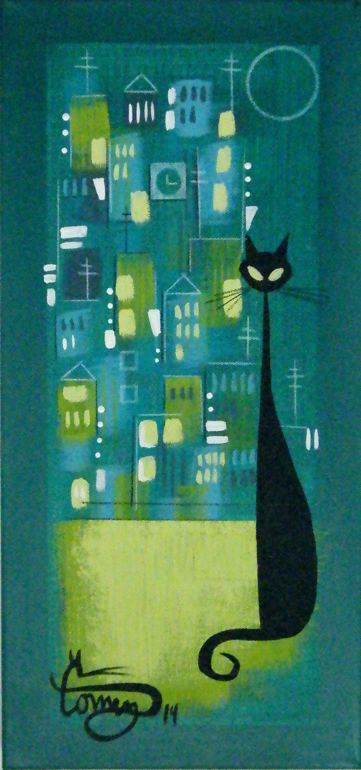 El Gato Gomez Painting Mid Century Danish Modern Cityscape Kitschy 1950s Cat | eBay