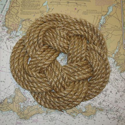 Nautical sailor knot trivet manila rope large manila for Large nautical rope