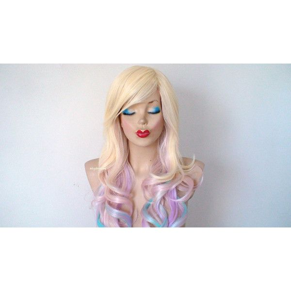 Pastel Ombre Wig Blonde Pastel pink/lavender Aqua Blue Ombre Wig... ($160) ❤ liked on Polyvore featuring beauty products, haircare, hair styling tools, bath & beauty, hair care, silver, wigs and curly hair care