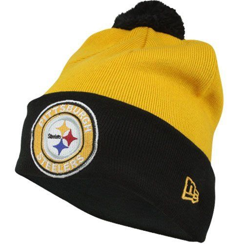 New Era Pittsburgh Steelers Circle Cuffed Hat - Gold/Black by New Era. Save 5 Off!. $18.97. Pittsburgh Steelers New Era Circle Cuffed Knit Hat. Contrast color cuff. Raised embroidered team design. Embroidered New Era flag. Pom top. Get a fresh look for football season and keep your noggin warm with this Pittsburgh Steelers New Era Circle Cuffed Knit Hat! This cozy Pittsburgh Steelers winter hat has a contrast color cuff with raised embroidered team design, embroidered New Era flag and pom...