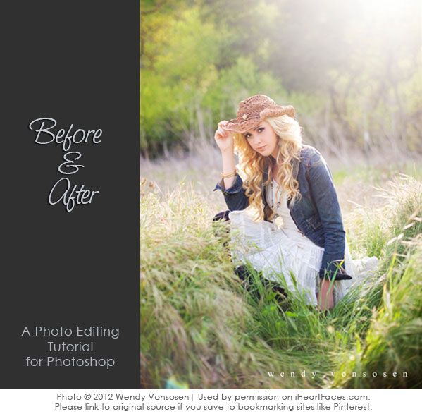 How To Edit a Portrait in Photoshop {step-by-step Before & After} via iHeartFaces.com. Photo copyright 2012 Wendy VonSosen.