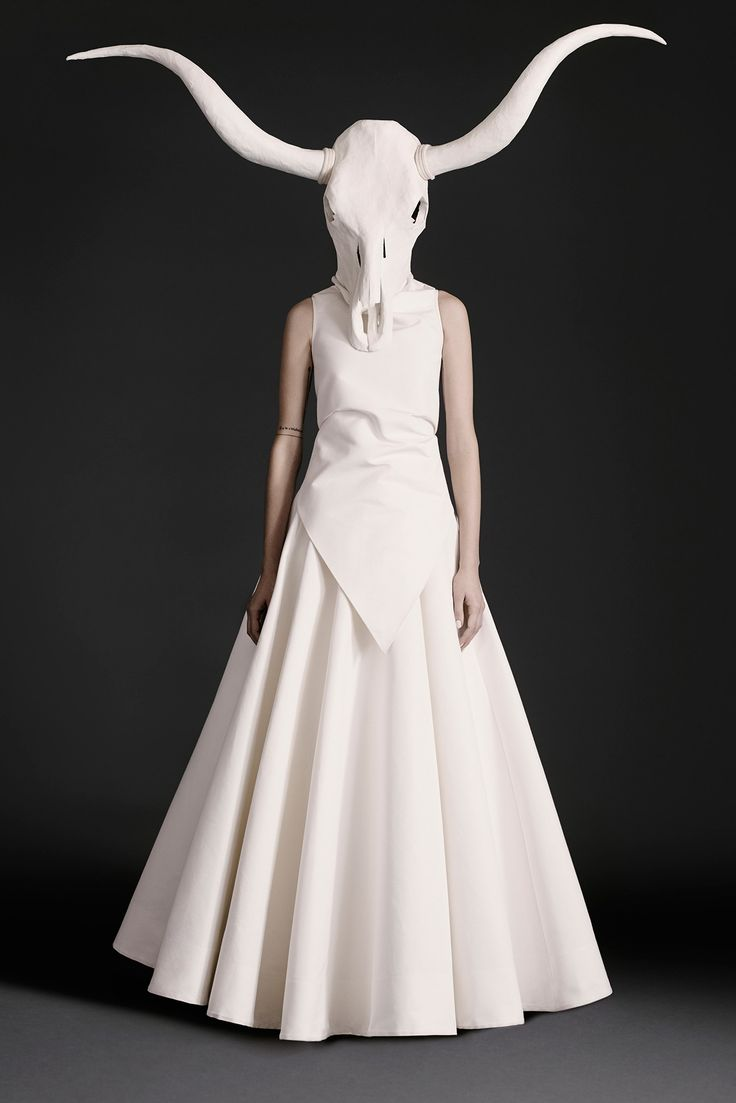 Gareth Pugh Spring 2015 Ready-to-Wear - Collection - Gallery - Look 21 - Style.com white dress head horns