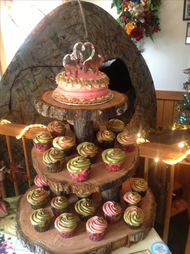 Pink Camo Bridal Shower Cake and Cupcakes