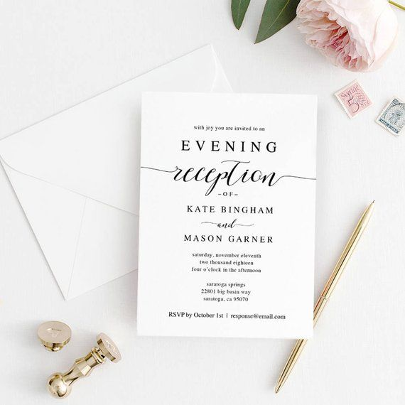Printable Wedding Reception Invitation Template Evening Etsy Wedding Reception Invitations Reception Invitations Wedding Reception Invitation Wording