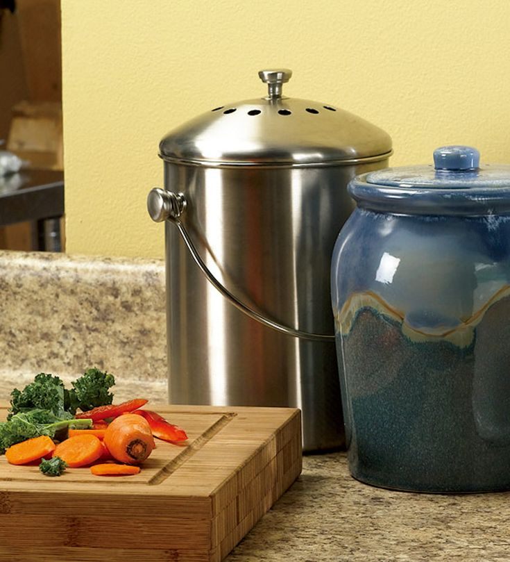 Leakproof, Odor-Free 1.5-Gallon Stainless Steel Compost Crock