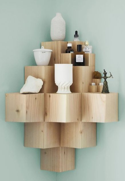 Cube corner pyramid Wood shelf ideas DIY home decor Pixels Shelf - Not sure I'd have a use for this, but it's kind of cool and I don't want to forget about it.