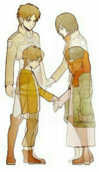 Eren, Mikasa, young, childhood, different ages, past, time lapse; Attack on Titan