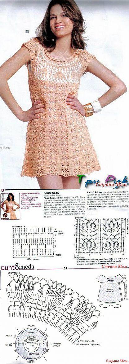 Нежно-розовое ажурное платье с круглой кокеткой.: Дневник группы 'Все � | туники , кофточки | Постила