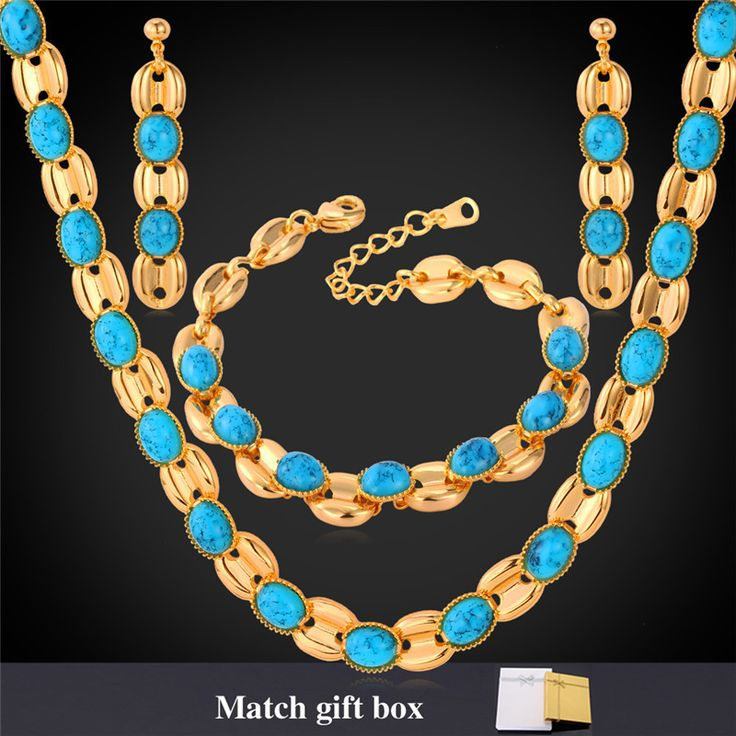 Cheap Jewelry Sets, Buy Directly from China Suppliers:                       Women Necklace Earrings Bracelet Jewelry Set 18K Gold Plated Synthetic Turquoise Necklace Je