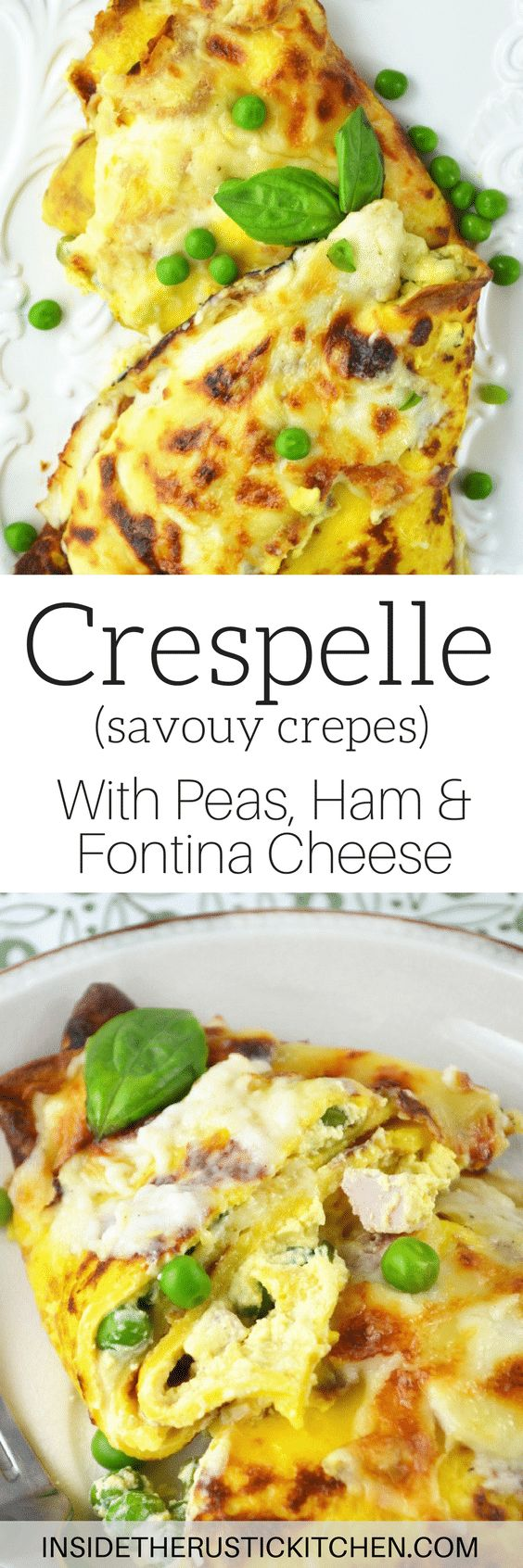 These Crespelle (savoury crepes) are stuffed with ricotta, peas and ham and baked with a delicious Fontina cheese sauce!