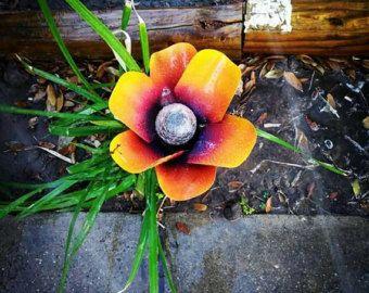 Luces solares de la flor del metal, a pie de camino luces - flor de amapola naranja