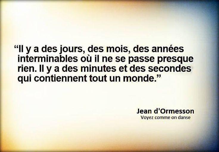 """""""Il y a des jours, des mois, des années interminables où il ne se passe presque rien. Il y a des minutes et des secondes qui contiennent tout un monde."""" - [Jean d'Ormesson]"""