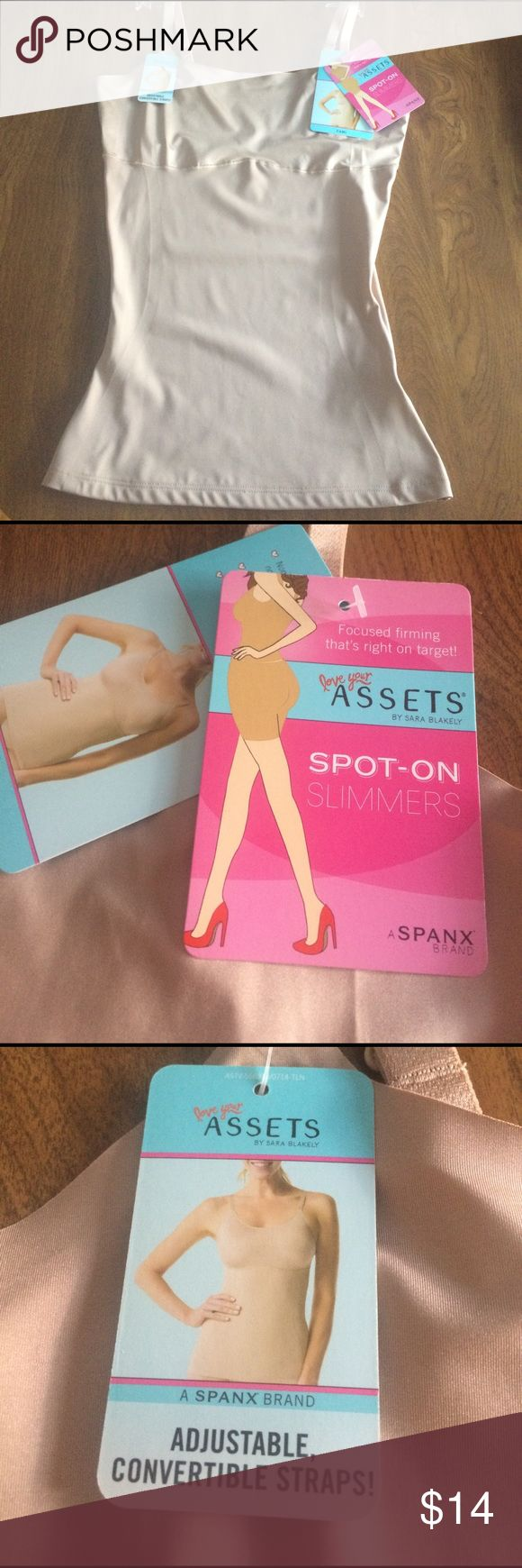 New ASSETS by SPANX,Spot-On Slimmers,Camisole Med. New with tags, Spot-On Slimmers Camisole. Color is beige. Size is medium. Assets by Spanx Intimates & Sleepwear Shapewear