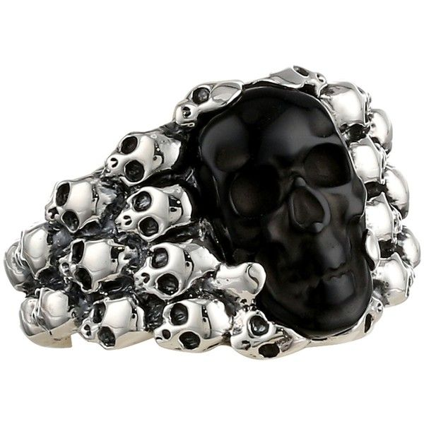 King Baby Studio Rainbow Obsidian Carved Skull in Silver Skull Frame... ($390) ❤ liked on Polyvore featuring men's fashion, men's jewelry, men's rings, rings, mens sterling silver skull rings, mens silver rings and mens skull rings