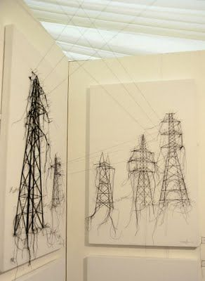 I love Debbie Smyth's architectural drawings which become three dimensional constructions out from the canvas.