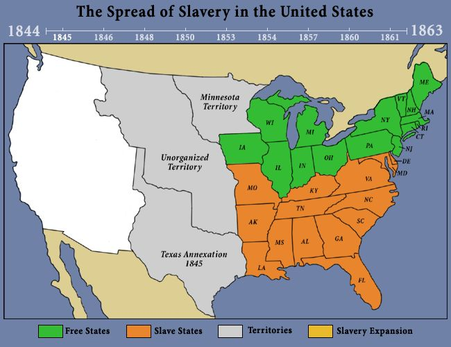 The Spread Of Slavery In The United States Techie Teachers - Area map of us 1845