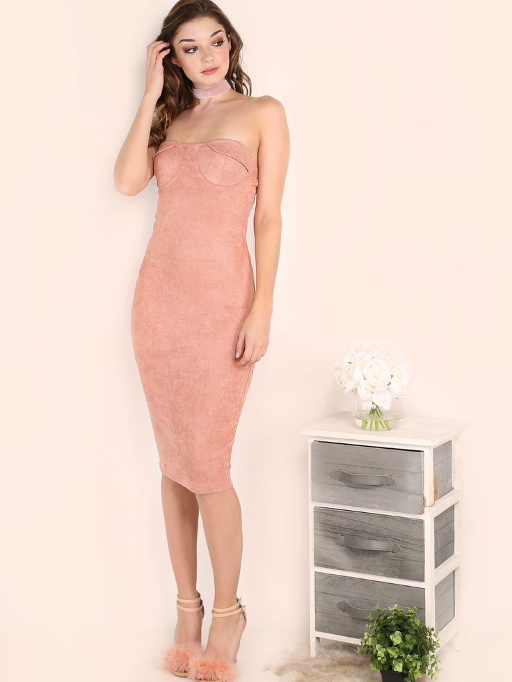 Розовое облегающее замшевое платье-труба