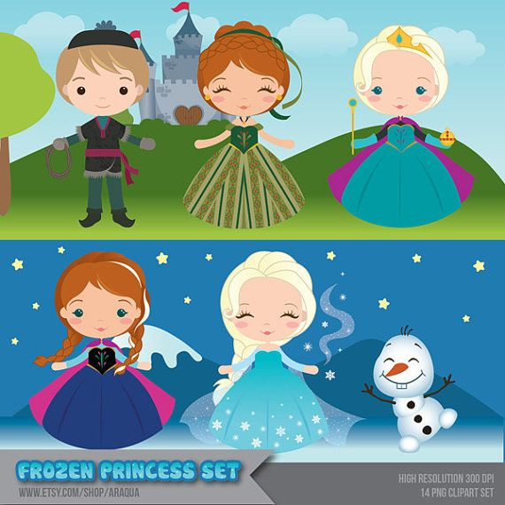 Frozen Princess Set Clipart  Instant Download  PNG by araqua, $5.00