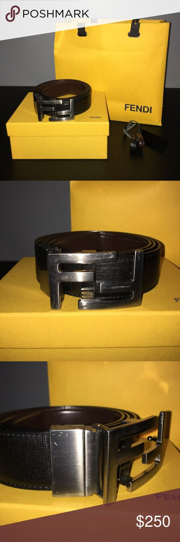Fendi Reversible Belt Mens Fendi Belt. 100% Authentic. I do not have the receipt anymore. Comes with original shipping bag and box. Leather tags included. Selling off my old designer. Wear and tear, small scratches on buckle. Leather on both sides in great condition. Reversible belt in chocolate brown to black combination. Double F logo-shaped buckle with cufflink closure and ruthenium finish. Made in Italy. 95cm. Fits 32-34 pants size Fendi Accessories Belts